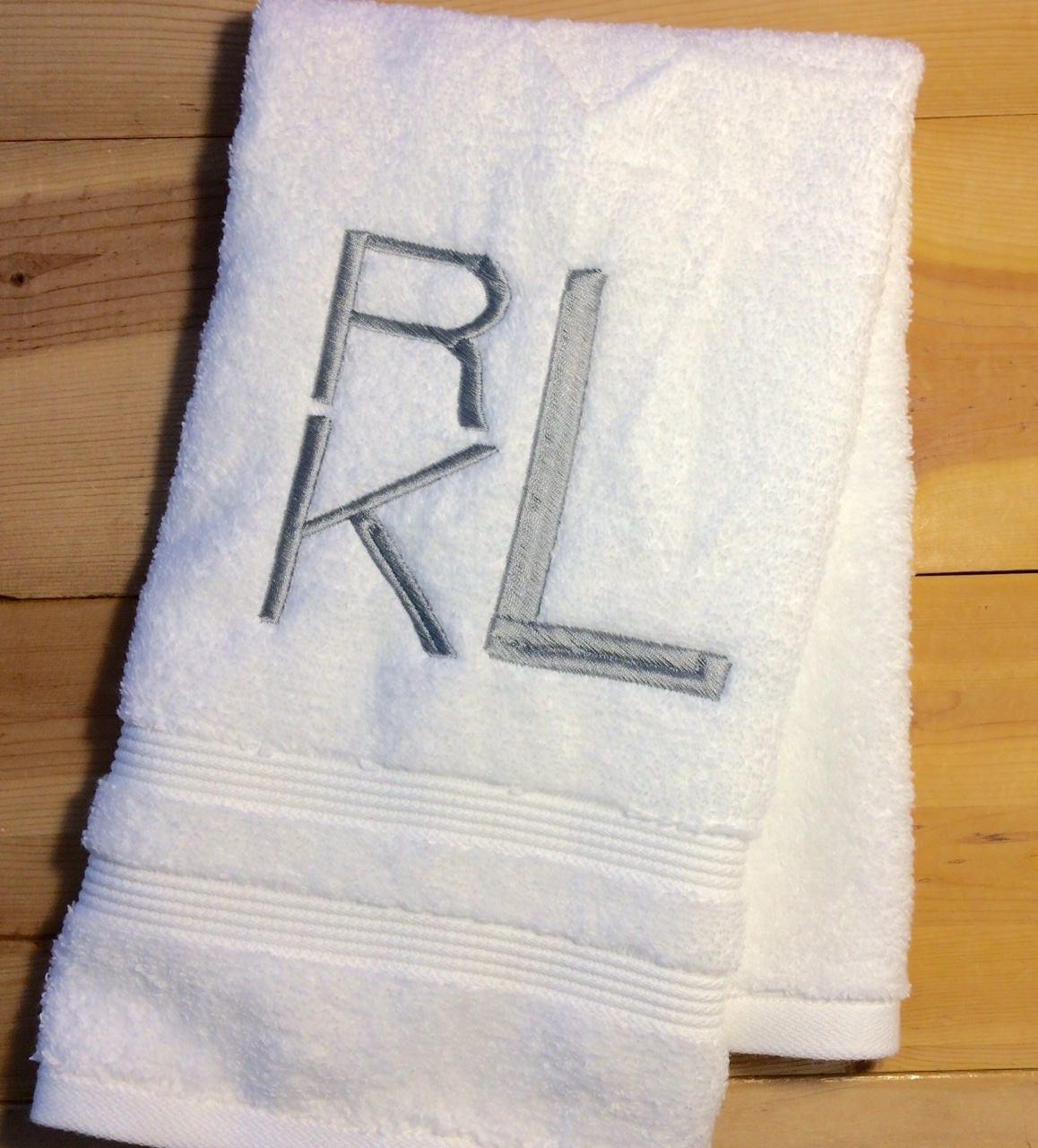 Monogrammed Towels, Circle Script Monogram Embroidered Hand Towel or  Fingertip Towel, Personalized Towels,