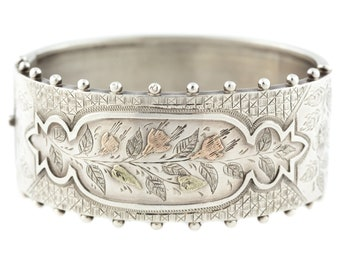 Victorian Aesthetic Silver Cuff Bangle c.1880