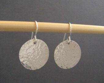 "hammered sterling silver earrings circle disc dangle leverback lever clasp latch back hook modern jewelry drop minimalist. 3/4"" circle"