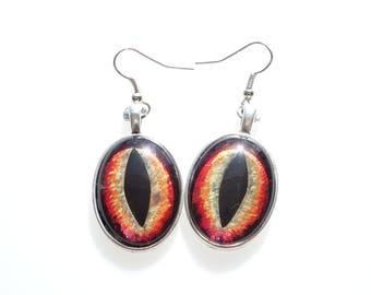 Dragon Eye Earrings, Hand Painted Glass Cabochon, 18x25mm