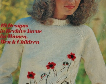 Sweater Knitting Patterns Cardigans Men Women Children Knit it With Flowers Patons 210 Hat Dress Vest Jacket Paper Original NOT PDF