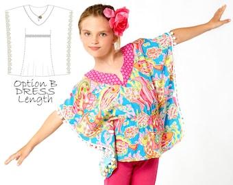 Girls Top Pattern PDF, Girls Dress Pattern pdf, Kaftan Pattern, Coverup Pattern, Childrens Sewing Pattern, Girls Sewing Pattern pdf, KAFTAN
