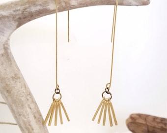 Threader Earrings Dainty Earrings Gold Fringe Earrings Dangly Earrings Modern Earrings Jewelry Gold Threader Earrings Dynamo Gold Tassel
