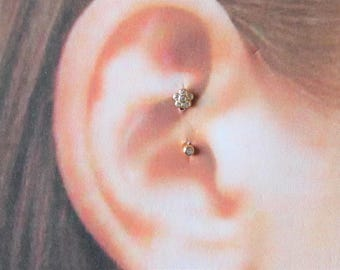 14k Gold Daith Piercing Curved Flower Barbell..16g..6 or 8mm