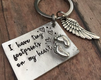Miscarriage Keychain, Infant Loss Key Chain, Miscarriage Keychain, Angel Wing Keychain, Infant Loss Gift, Baby Footprints, Personalized