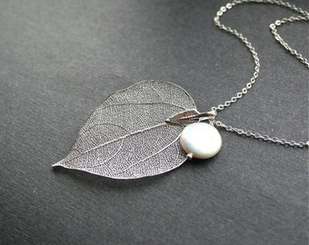 Real Leaf with Freshwater Pearl Necklace, Real Silver Leaf, Coin Pearl, Botanic Jewelry, Sterling Silver