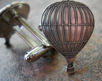 Hot Air Balloon Cufflinks in Silver