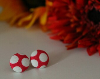 Large Pink Polka Dot Button Earring