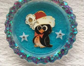 Magnet, Weihnachtsmagnet, Pinguin, Harz