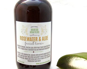 Rosewater & Aloe Facial Toner, Great for all skin types, Apple Cider Vinegar, Facial Cleaners, Tone, Acne Treatment, Pore Minimizer