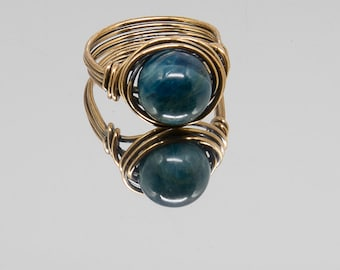 Apatite Nesting Copper Ring, Sodalite,Stone Ring,Natural Stone Ring,Wire Wrapped Ring,Copper Ring,Unique Ring,Womens ring,Blue R47