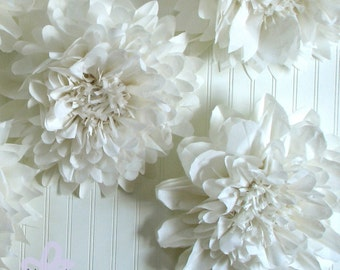 Fresh cut 5 giant hanging paper flowers baby shower 5 giant paper flowers hanging wall flower white wedding shower photo booth winter wonderland party blooms by whimsy pie mightylinksfo