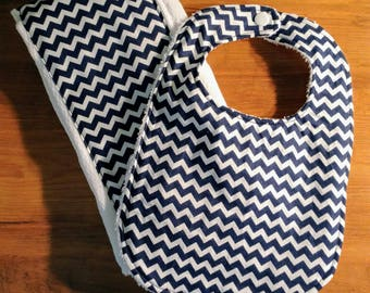 Navy Blue Baby/Infant Bib and Burp Cloth Combo
