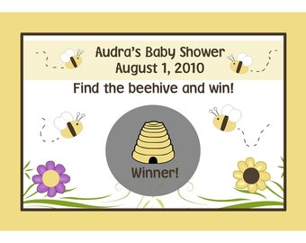 24 Personalized Baby Shower Scratch Off Game Cards  BABY BEE DESIGN