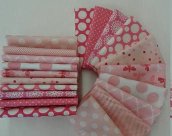 Flirty pretty pink Fat Quarter Bundle of 10 assorted fabrics