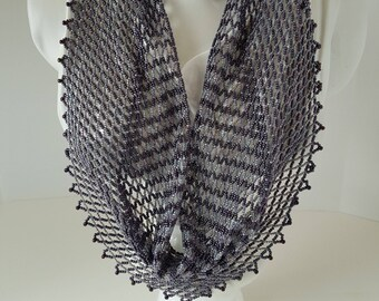 Handwoven beaded scarf necklace in shades of purple