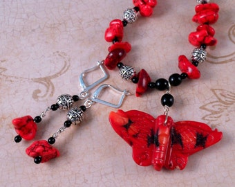Cinnabar Butterfly Necklace Turquoise Necklace Gemstone Jewelry Beaded Jewelry  Red Jewelry Turquoise Jewelry