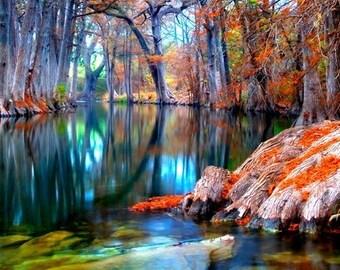 Texas Decor, Guadalupe River Photography, Texas Landscape Decor, Fall Landscape Photography, Autumn Photos, Fall Foliage, Nature Photography