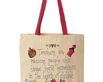 Teacher Tote Bag - Cotton Canvas Tote Bag - Teacher Bag - Teacher Appreciation - Gift For Teachers - Red