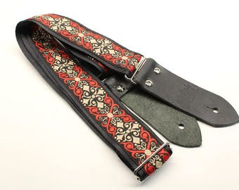 Woven Guitar Strap, Black, Red, Creme, Pattern, Seat Belt, Guitar Strap, Embroidered Strap, Design, Acoustic Strap, Guitar, Bass Guitar