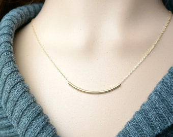 Curved Gold Bar Necklace / Sideways Long Bar Pendant on a Gold Filled Chain