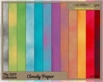 Cloud Paper, Digital Paper, Digital Backgrounds, Digital Scrapbook Paper, Clip Art