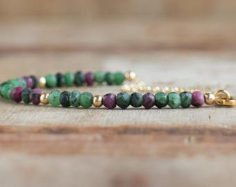 Ruby Zoisite Bracelet, Ruby in Zoisite Gemstone Bracelet, Handmade Jewellery, Anyolite Jewelry, Healing Crystal for Grief and Comfort Stone