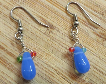 Blue bead with tiny crystal beads earrings