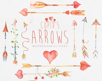 Arrows Сupid's, Hand Drawn Watercolour Clipart. DIY elements, hearts, flowers, invite, tribal arrows, transparent, digital png