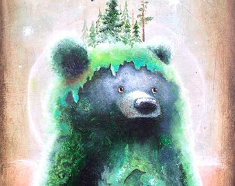 Bear Fine Art Print - Tree Art -  Whimsical - Children's Wall Deco - Nature Print -  Bear Art -  Bear Print -  Surreal Art -  Whimsical Art