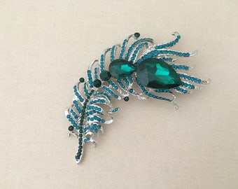 Teal Feather Brooch.SLIGHT SECOND BROOCH.Teal Crystal Feather brooch.Teal Rhinestone Brooch.Teal Pin.Wedding.Bridal.Teal broach.Large Brooch