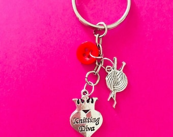 I love to knit Knitting Keyring / Bag Charm Knitting lovers Crafters Gift Crochet Knitting Diva Love to Knit Gift Female Gift