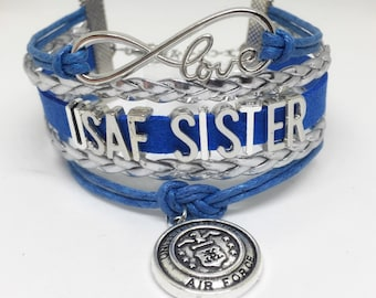Air Force Sister, USAF Sister, Military Sister, Air Force Bracelet, Air Force Jewelry, Family Deployment, USAF Bracelet, USAF Jewelry