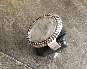 Gray Fabric Bead Adjustable Ring, Z-35