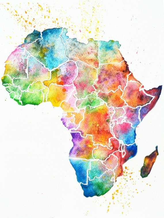 africa map art africa watercolor map print abstract wall home 10025