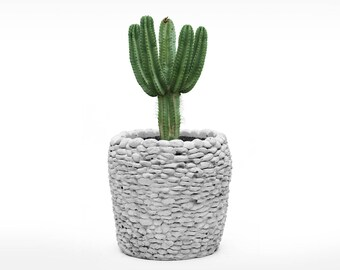 Handmade creative original concrete cement planter. Stone tiling and sphere style planters.