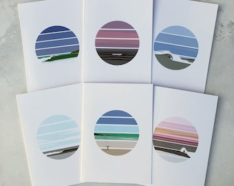 Pack of 6 Hastascape Surf Greeting Cards // Print, Ocean, Sea, Surf, Surfer, Surf Art, Wave, Nature, Sunset, Landscape, Cards, Art.