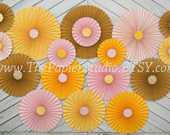 Pink and Yellow, You Are My Sunshine, Set of Seventeen (17) Paper Rosettes, Paper Fans Backdrop
