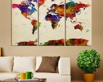 Large Wall Art World Map Push Pin Watercolor Canvas Print - XXL World Map Push Pin Canvas Print, Push Pin World Travel Map Canvas Print