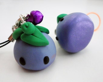 Purple Plum Fruit Polymer Clay Charm
