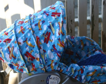 multi color airplanes with royal blue minky infant car seat cover and hood cover