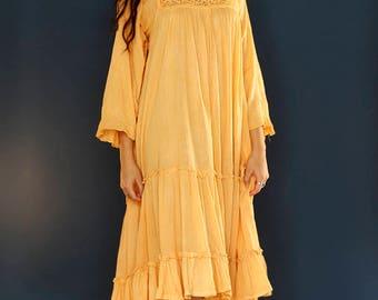 Vintage 70s Indian Cotton Gauze Crochet Hand Dyed Dress / 1970s Hippie Dress Bohemian Folk Gypsy Boho Edwardian Dress One Size