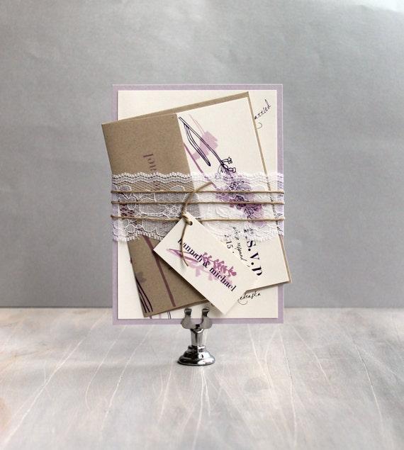 Purple Rustic Wedding Invitations: Rustic Lavender Lilac Purple And Lace Wedding Invitations