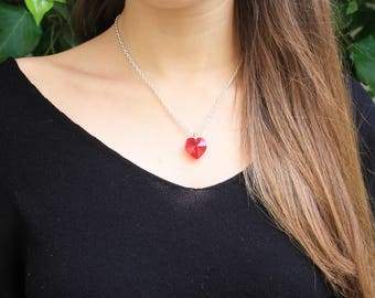 Swarosky crystal heart with silver chain - Valentine's day
