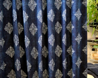 Fabric Shower Curtain In Hmong Indigo Batik Natural Plant Dye On Cotton **Free worldwide shipping**