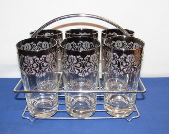 Silver OMBRE ROYAL LUSTER Glassware Set of 6 with Carrier