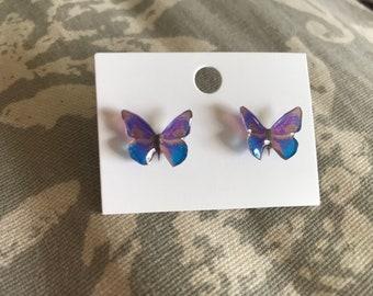 Blue tropical butterfly stud earrings stainless steel hypoallergenic