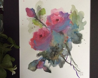 Abstract floral original watercolor painting.