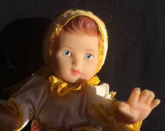 Vintage Rubber Doll from Czech Republic, in National/Traditional/Ethnic Costume - 1960