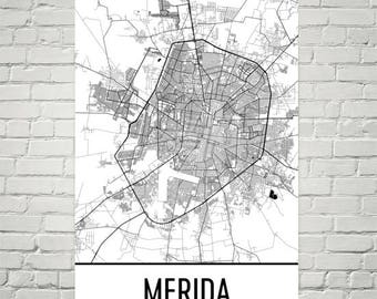 Merida Map, Merida Art, Merida Print, Merida Poster, Merida Wall Art, Mexican Gift, Map of Mexico, Mexican Decor, Mexican Art, Yucatan